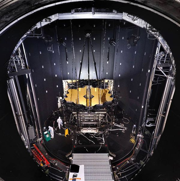 The James Webb Space Telescope hangs from the ceiling of Chamber A at NASA's Johnson Space Center in Houston, Texas.