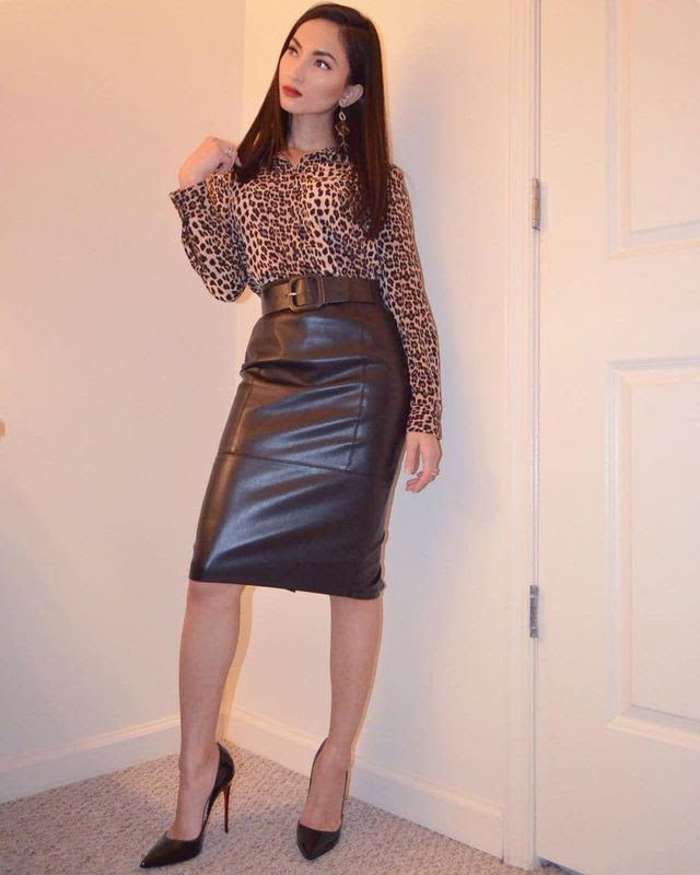 84 leather pencil skirt outfits that'll make you want a