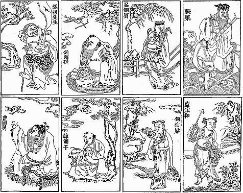 Bát Tiên - Tranh vẽ trên giấy dó