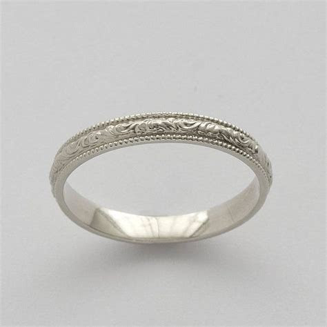 Vintage Scrolls White Gold Engraved Wedding Ring   White