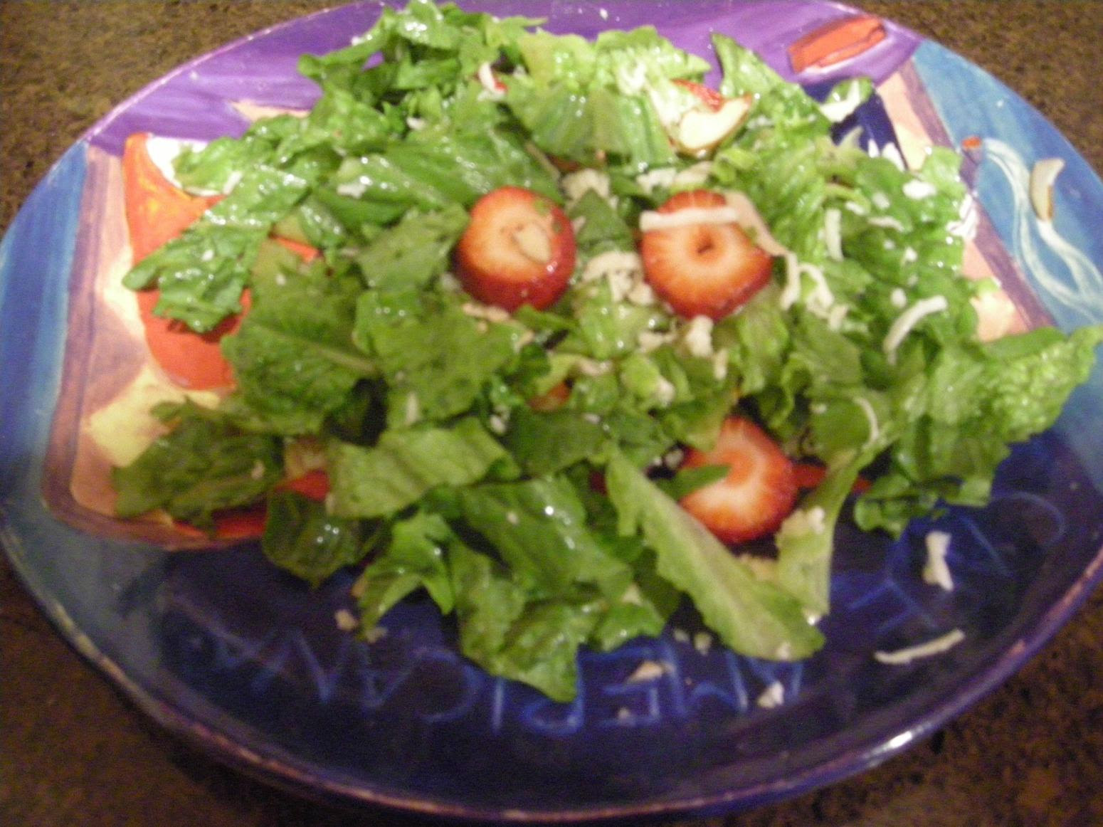 Easy Strawberry Romaine Salad with Almonds Recipe   Just A ...