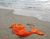 Mermaid Tail Towel in Orange by Kiki's Things