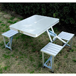 Outsunny Outdoor Aluminum Portable Folding Picnic Table, Silver