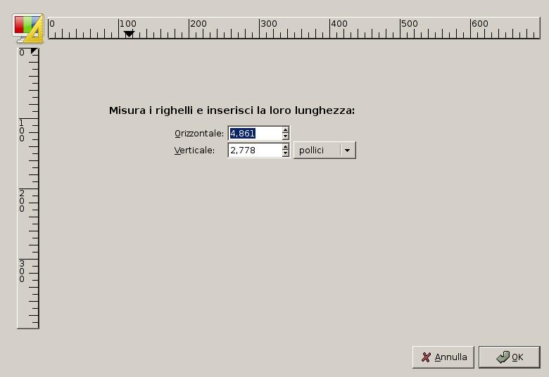 La finestra di dialogo di calibrazione monitor