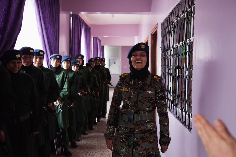 Gritty in pink: The officers chose the color for this female counter-terrorism unit at a base in Sanaa.
