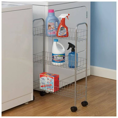 Household Essentials 3-Tier Storage Cart, Satin Silver