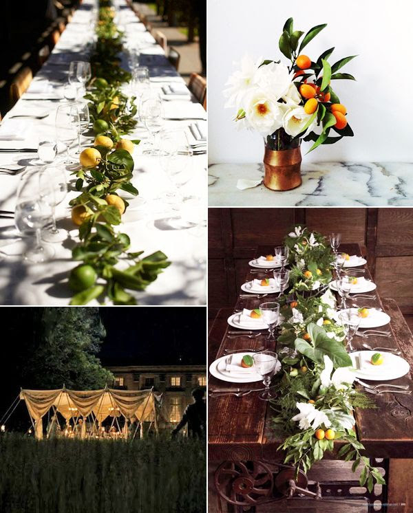 Le Fashion Blog Wedding Decor Table Setting Flowers Citrus Lemons Orange Blossom Centerpiece Lighting