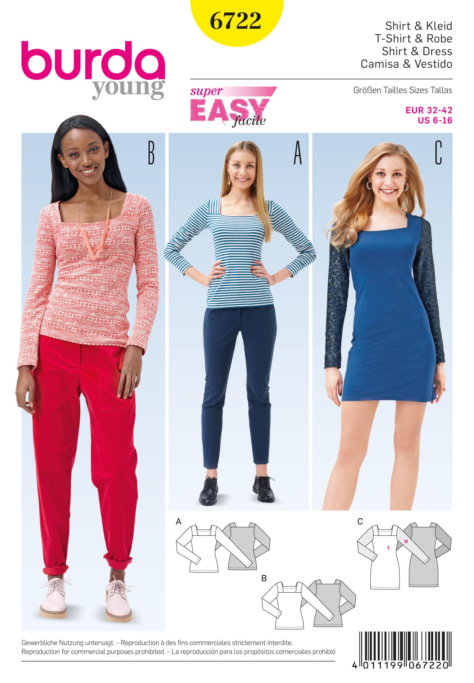 Burda Misses' Dress and Tops 6722