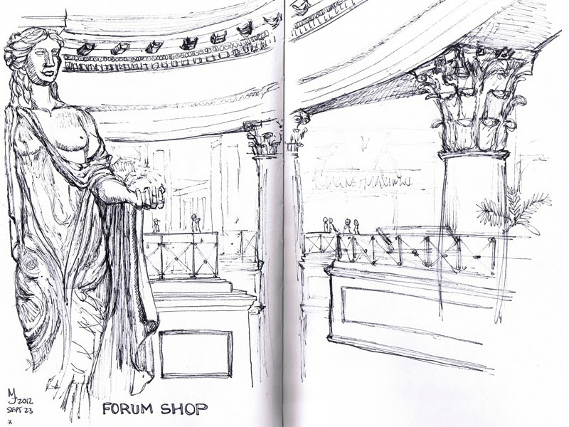 MJ SKETCHBOOK | Urban Sketching - Las Vegas - Caesars Palace Forum Shop
