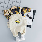 PatPat White Toddler Sets 9-12 mo Unisex Spandex - Striped Top and Bee Overalls Set