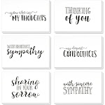 Sympathy Cards Box Set - 36 Pack Sympathy Cards, 6 Handwritten Designs, Condolence Cards Bulk, Envelopes Included, 4 x 6 inches