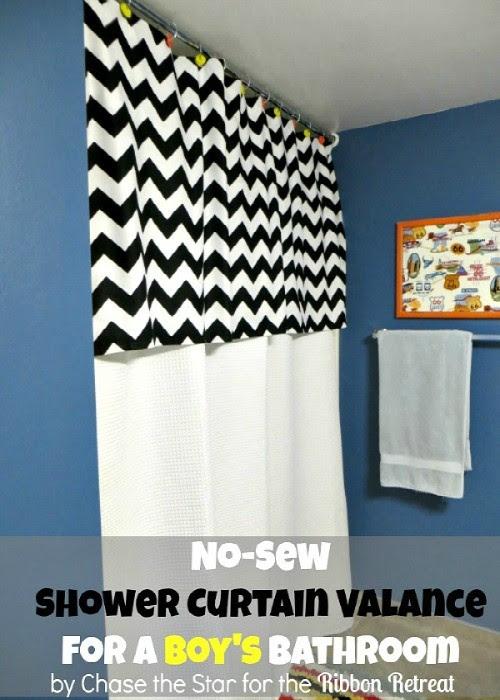 No Sew Shower Curtain Valance The Ribbon Retreat Blog