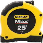 Stanley 25' Max Steel Tape Measure, Yellow