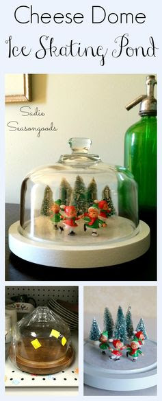 Creating a winter scene under a thrift store cheese dome? Nothing new. But creating a frozen ice skating pond, straight from a vintage postcard or Currier & Ives? Now THAT'S new! Such a unique Christmas decoration and a darling way to upcycle or repurpose that old cheese dome (or cloche?). Vintage bottlebrush trees and adorable ice skater figurines really make this come alive. #SadieSeasongoods #HomeforChristmas