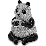 Bejeweled Panda w/Leaf Trinket Box with Charm Pendant - BJ2123