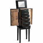 Standing Jewelry Armoire Chest Storage Cabinet with Mirror | Costway