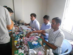 Medicines being distributed free for the patients in the medical camp at VK, Shimla