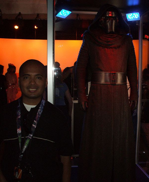 Posing with Kylo Ren's outfit inside THE FORCE AWAKENS exhibit at the Star Wars Celebration in Anaheim, California...on April 17, 2015.