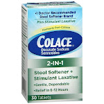 Colace 2-in-1 stool softener & stimulant laxative tablets - 30 count