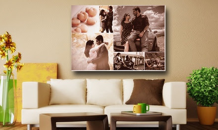Personalised Photo Collage on Canvas With Wooden Frame from AED 49 (Up to 67% Off)