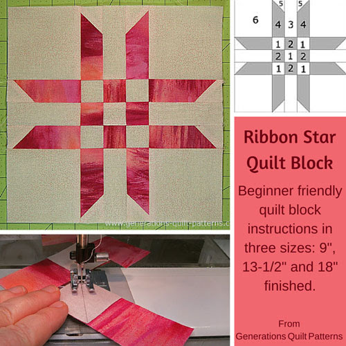 "Ribbon Star Quilt Block Pattern:  9"", 13-1/2"" and 18"""