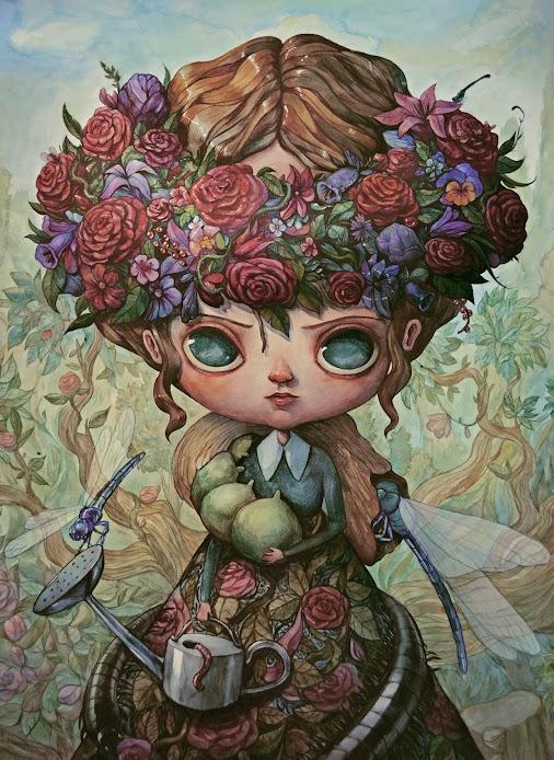 The Garden Queen (by Maria Tiurina)  #design #illustration #character #painting #watercolor #pop #surrealism...