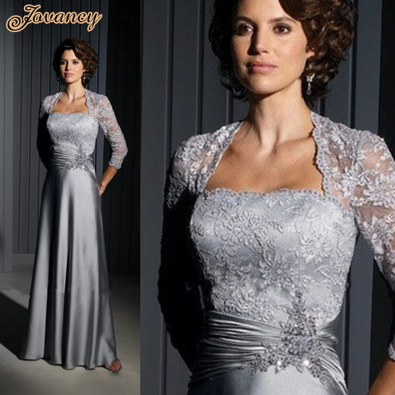 custom made long formal evening dress silver lace mother