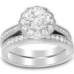 Brilliant Cut Halo Setting Silver CZ Wedding Engagment Ring Set