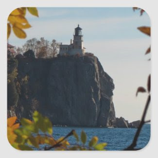 Split Rock Lighthouse in the Fall Square Sticker