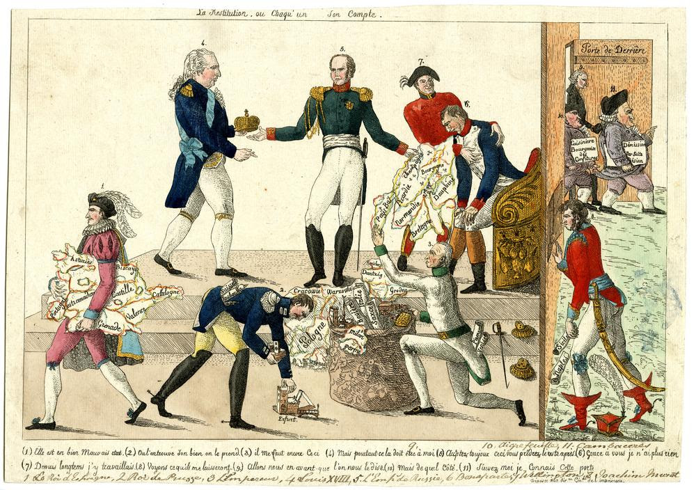 Satire on the re-ordering of Europe after the fall of Napoleon: eight crowned heads of Europe (numbered and explained in a key underneath) pull apart and re-order a map of Europe, while Cambacérès and other officials of the fallen régime exit through the back door.   Autumn 1814 Hand-coloured etching