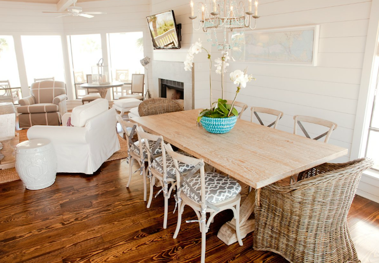 Suzie: Munger Interiors - Chic beachy dining room space with white paneled walls, reclaimed ...
