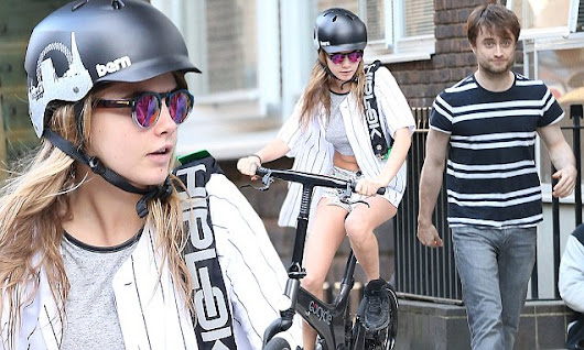 Cara Delevingne runs errands on her electric bike