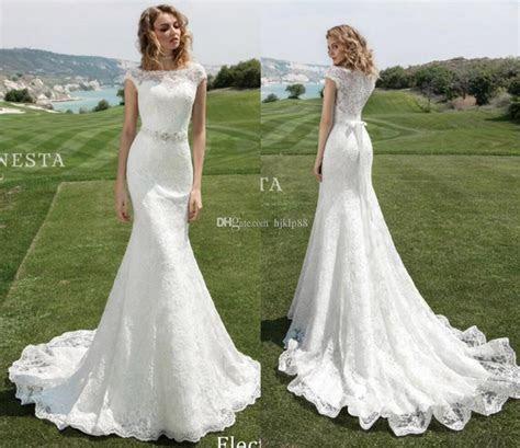 2017 Lace Mermaid Wedding Dresses Cap Sleeve Bateau Neck