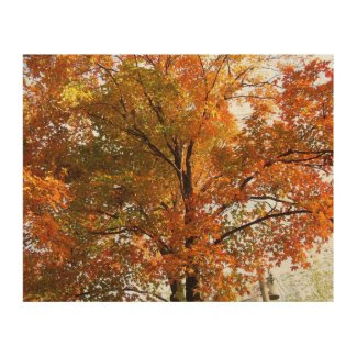 Autumn Tree with Leaves on Wood Wood Wall Decor