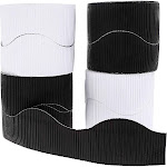6 Rolls (3 of Each) Bulletin Board Scalloped Borders, 2.3 inch width Black and White Border Decoration for Classroom, Cabinet, Window, Door, 150 feet