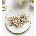 The White Toolbox Wedding Hair Accessories Bridal Hair Comb Pearl and Gold Floral Headpiece - For Brides Bridesmaids