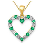 1/3 Carat (ctw) Natural Green Emerald Heart Pendant Necklace in 14K Yellow Gold with Chain