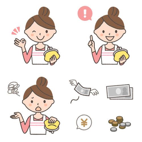 財布をもつ主婦の表情イラスト3種とお金のイラスト 可愛い無料イラスト