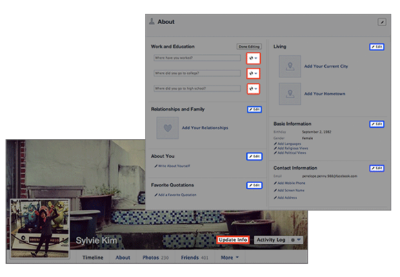 facebook editar informações