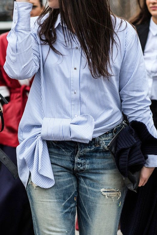 Le Fashion Blog Lfw Blue And White Striped Tie Front Button Down Shirt Faded Ripped Jeans Via Vogue Paris