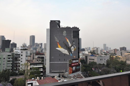 """Icarus"" New mural by AEC of Interesni Kazki in Mexico City 