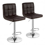 Set of 2 Square Swivel Adjustable PU Leather Bar Stools with Back and Footrest-Coffee - Color: Coffee