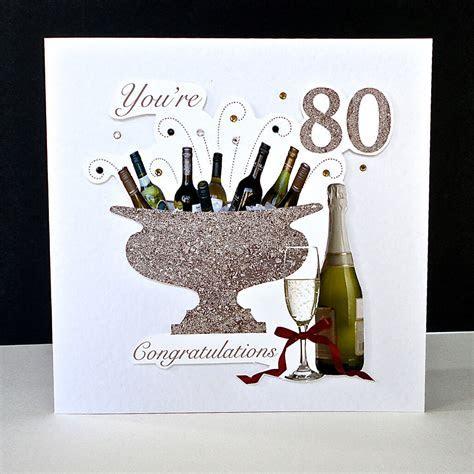 Celebration Bottles 80th Handmade Birthday Card   Decorque