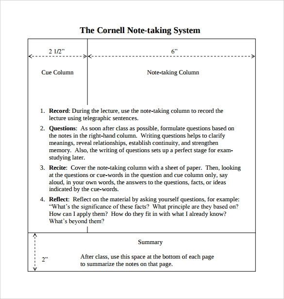 Cornell Note Taking System Template