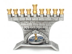 Jerusalem Wall Brass Hanukkah Menorah by aJudaica