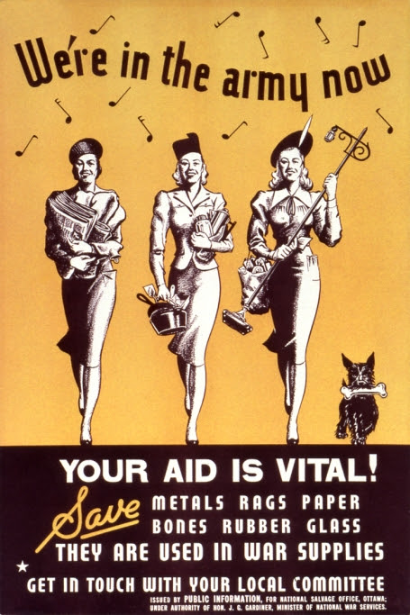 Propaganda poster encouraging Canadian housewives to help the war effort by