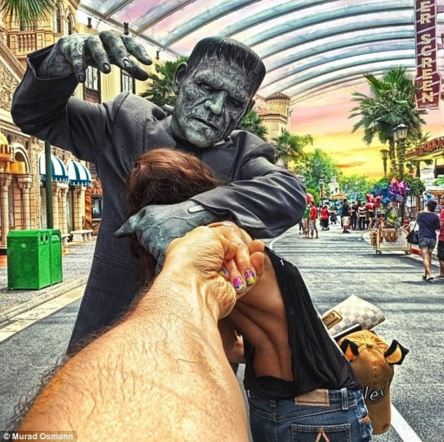 Bride of Frankenstein: Murad's girlfriend is 'attacked' by a human statue on the their global travels