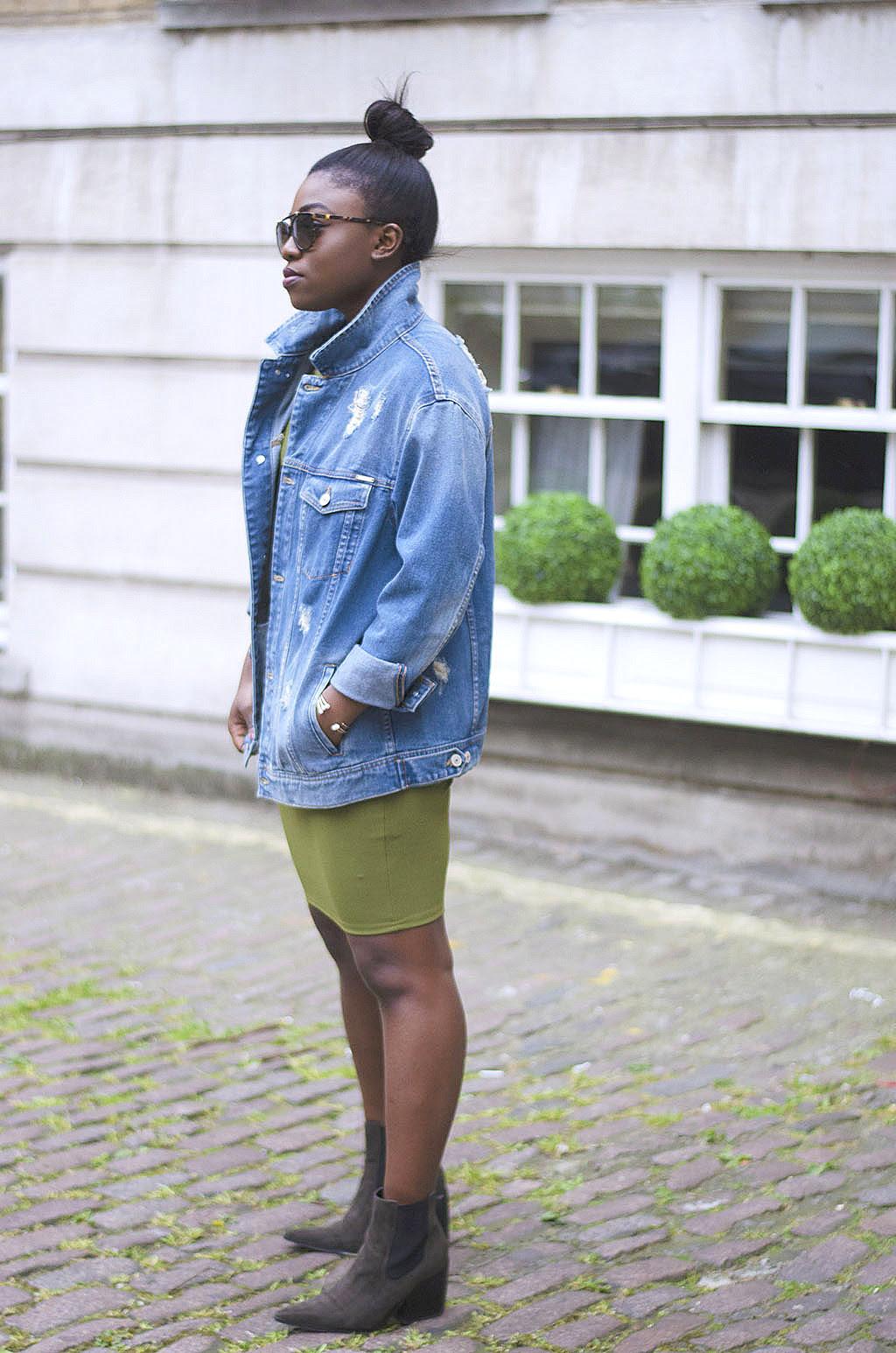 Dillards bodycon dress with jean jacket lanka
