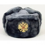 Russian Army KGB Cossack Military Fur Hat Ushanka *grey/L* w/Imperial Eagle Crest Badge