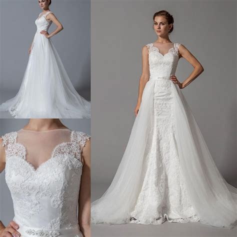 Detachable Skirt Mermaid Cheap Wedding Dresses 2015 New